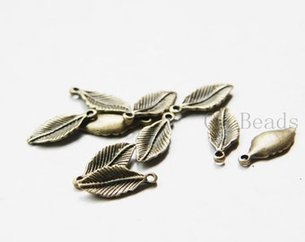 30pcs Antique Brass Tone Base Metal Charms-Leaf 17x7mm (23761Y-C-403)