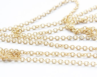 3 Feet Premium Matte Gold Plated Brass Base Chains-Oval 3x2.5mm (260SB)