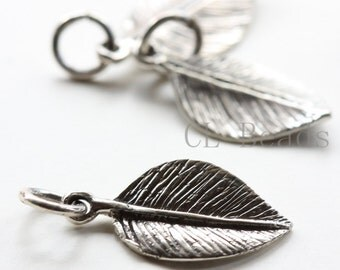 One Piece Sterling Silver Leaf Pendant - 22x9mm