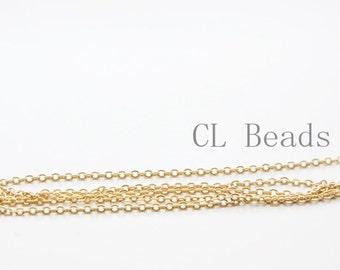 3 Feet Premium Matte Gold Plated Brass Base Chains - Flat Oval 2.2x1.6mm (1808C06)(235SFB)