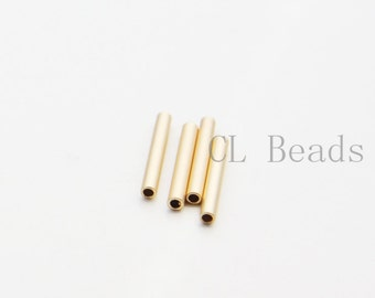 4pcs Matte 16K Gold Plated Tube 2x15mm with ID 1.4mm  (1687C-U-139)