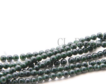 One Full Strand (14 Inches) Semiprecious Stone Green Gold Sand Stone - Round 4mm (201)