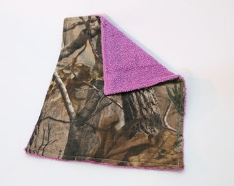 Baby Burp Cloth - Ready to Ship - One of a Kind - Baby Shower Gift - Designer Cotton and Terrycloth - Realtree Cotton Camo