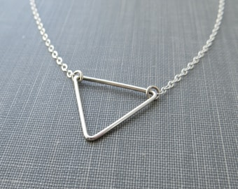 Sterling Silver Wire Triangle Necklace - Flat Cable Chain - Simple Modern Minimal Wire Jewelry