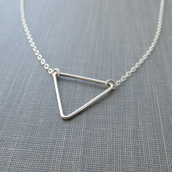 sterling silver wire triangle necklace flat by modernchromatic. Black Bedroom Furniture Sets. Home Design Ideas