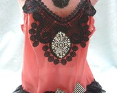 50% OFF - TUNIC Tank Cami Top 20's Inspired Boho Altered Clothing - Vintage Cami Make Over - Rusty-Rose and Black