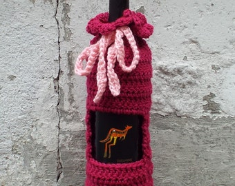 Magenta Wine Cozy, Crochet Wine Bag, Bottle Gift Bag, Wine Holder, Gift Sack