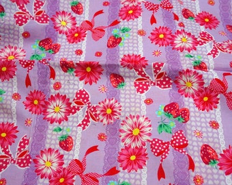 SALE  Cute Flower Strawberry and Ribbon Half meter 50 cm by 106 or 19.6 by 42 inch nc53