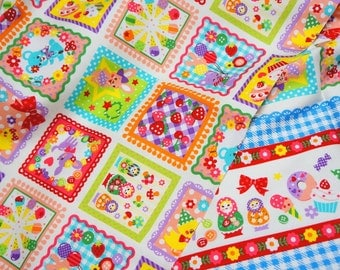 Japanese fabric with Matryoshka Sweets and Animal Print Gingham Border Half meter