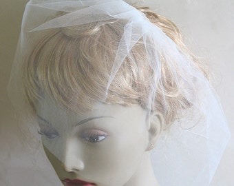 "bridal illusion birdcage veil - 9"" wedding blusher veil"