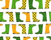 Fat Quarter - Jack and Jenny galoshes Green and Yellow Robert Kaufman Fabrics AWN-12530-47 Grass