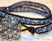 Double Wrap Blue Crystal Bracelet with Button Closure