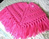 Knitted Poncho, Doll - Bright Pink