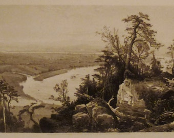 ANTIQUE CONNECTICUT VALLEY Original steel Engraving 1800s 12 3/8 x 9 1/2  in Ready to frame