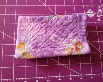 Lavender Fairy quilted Fabric Checkbook Cover Homemade