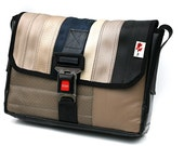 Messenger bag made from RECLAIMED car seat belt and car seats by Mariclaro (905E)