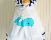 Whale Swimsuit Cover Up Hooded Towel Nautical Coverup Kids Beach Apparel Sizes 12 months 2T, 3 4, 5 6 - by The Trendy Tot