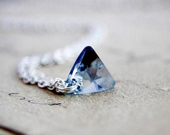 Crystal Necklace, Swarovski Triangle, Triangle Crystal, Crystal Pendant, Triangle Necklace, Geometric Necklace, Sterling Silver, Sky Blue