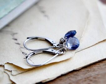 Iolite Earrings, Drop Earrings, Gold Earrings, White Gold, Blue Gemstone, White Gold Earrings, PoleStar, Indigo, Crystal Earrings