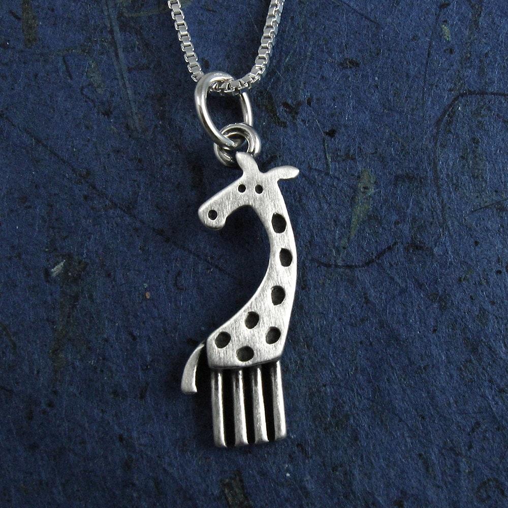 Tiny Giraffe Necklace Pendant By Stickmanjewelry On Etsy
