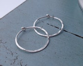 Silver Circle Hoops - Small (H02SS-S) Hammered, Sterling Silver, Modern Hoops - handmade jewelry by cristysjewelry on etsy