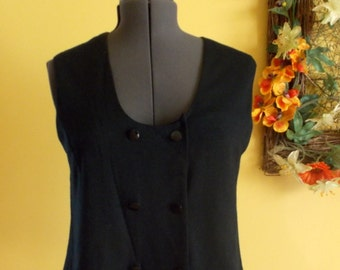 Vintage Donkenny thin black knit vest double breasted straight hem