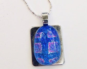 Dichroic fused glass pendant - stainless steel - squares - blue and pink pendant // dichro stainless steel pendant plate