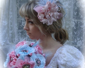 SALE!  READY To SHIP!  Marie Antoinette Pink and Blue Parisian Shabby Chic Hair Fascinators