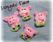 Pig, Needle felted Pink Pig Pin,