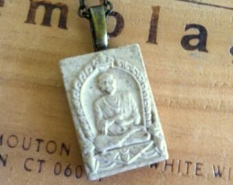 Vintage Clay Buddhist Buddha Charm Necklace Pendant Necklace