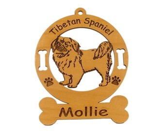 4168 Tibetan Spaniel Personalized Wood Ornament