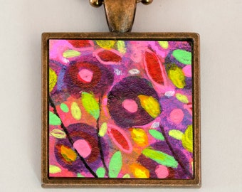 Colorful Abstract Necklace, Purple Pendant, Handmade Jewelry, Bright Necklace