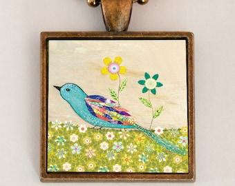 Blue Bird Necklace, Bird Pendant, Copper Bird Necklace