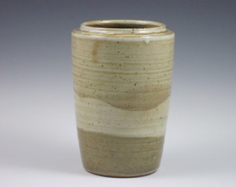 Glossy Pale Tan White Vase
