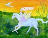 Morning Promise, 10 x 7, original mixed media painting on canvas board, fairytale, flying horse,