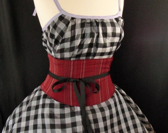 Red Striped Waist Cincher Corset Belt  Any Size Custom B