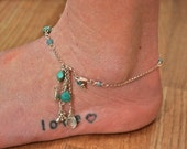 Raining Gems Beaded Chain Anklet with a Cascade of Chain and Gems Aqua and Turquoise - hand-created boho chic beach style