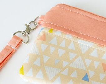 Aztec Wristlet in Peach and White (zipper bag, purse, makeup pouch, wallet)