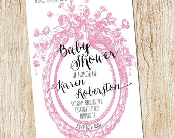 Baby Shower  Invitations - Digital File- Sip and See Invitation - Sip & See- floral vintage calligraphy