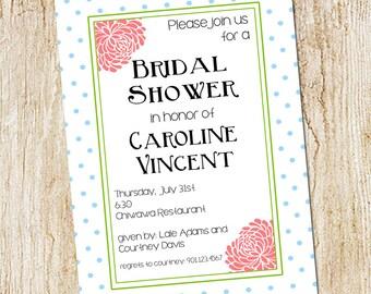 polka dot and floral shower invitation- bridal shower invitation- Digial File OR PRINTED CARDS- bridal tea - bridal luncheon brunch
