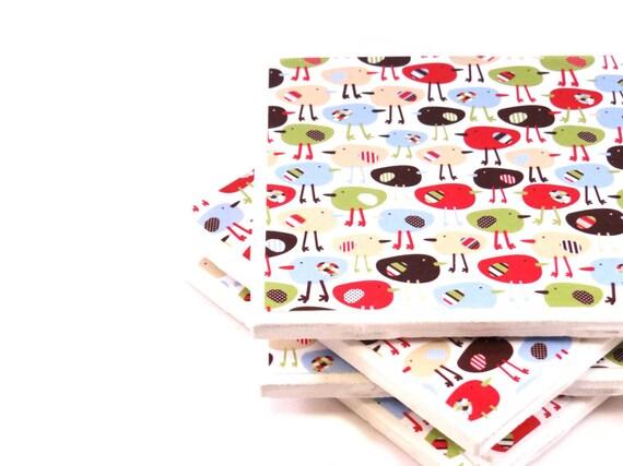 Tile Coasters - Tiny Rainbow Birds - Set of 4 Ceramic Tile Coasters