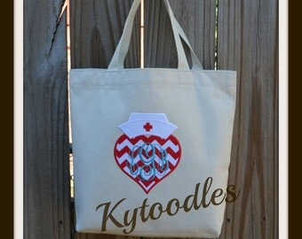 Nurse's Natural CanvasTote Bag with Nurse Hat and Chevron Heart Applique with Monogram. Great gift for nurses and student nurses.
