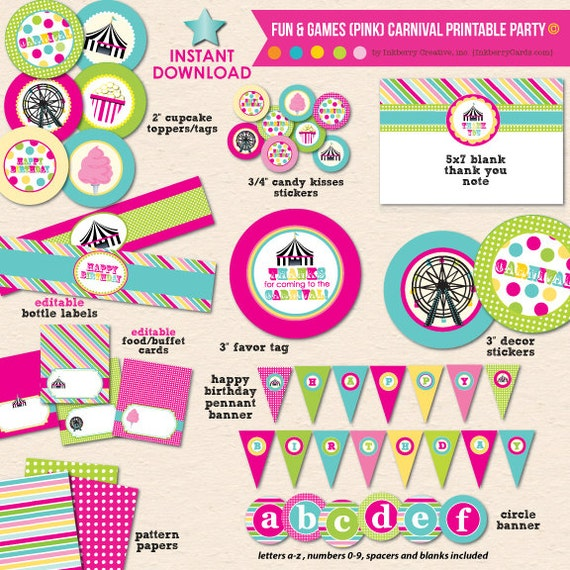 Girl's Carnival Birthday Party (Pink/Aqua)
