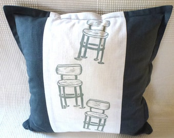 sale, half price, cushion cover, decorative pillow, linocut, grey, white, chairs, scatter cushion, furniture, retro look,