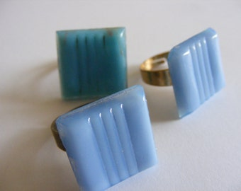 Sky blue adjustable mosaic tile ring