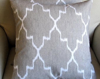 MONACO LINEN Ikat gray pillow cover 18x18 20x20 22x22 24x24 26x26