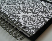 Greeting Card Organizer with Address Book and Birthday Reminder with Black on White Damask Print Cover