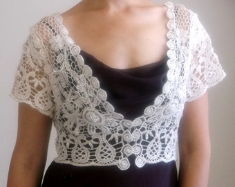 SALE! Victorian Style Cotton Lace Bridal Bolero Jacket