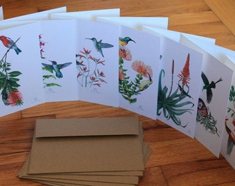 "Pollinating Birds Notecards—set of seven 5"" x 7"" cards"