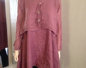 Lagenlook Washed Linen Tunic with Gauze Topper 2 Piece Hand Dyed Cocoa Mauve